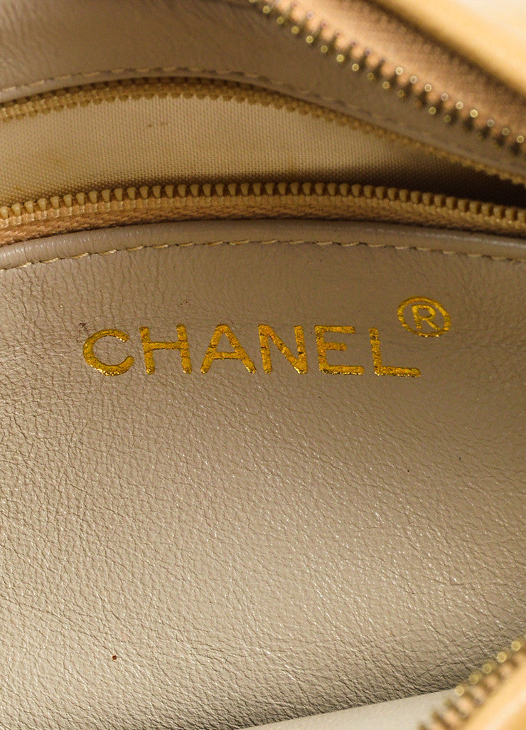 Chanel Tan Gold Tone Lambskin Leather Quilted 'CC' Tassel Shoulder Bag Brand