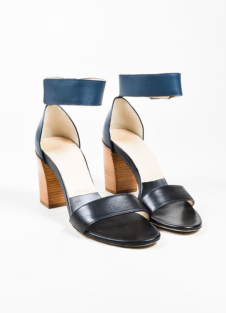 Chloe Black and Navy Blue Velcro Ankle Strap Stacked Chunky Sandal Heels Frontview