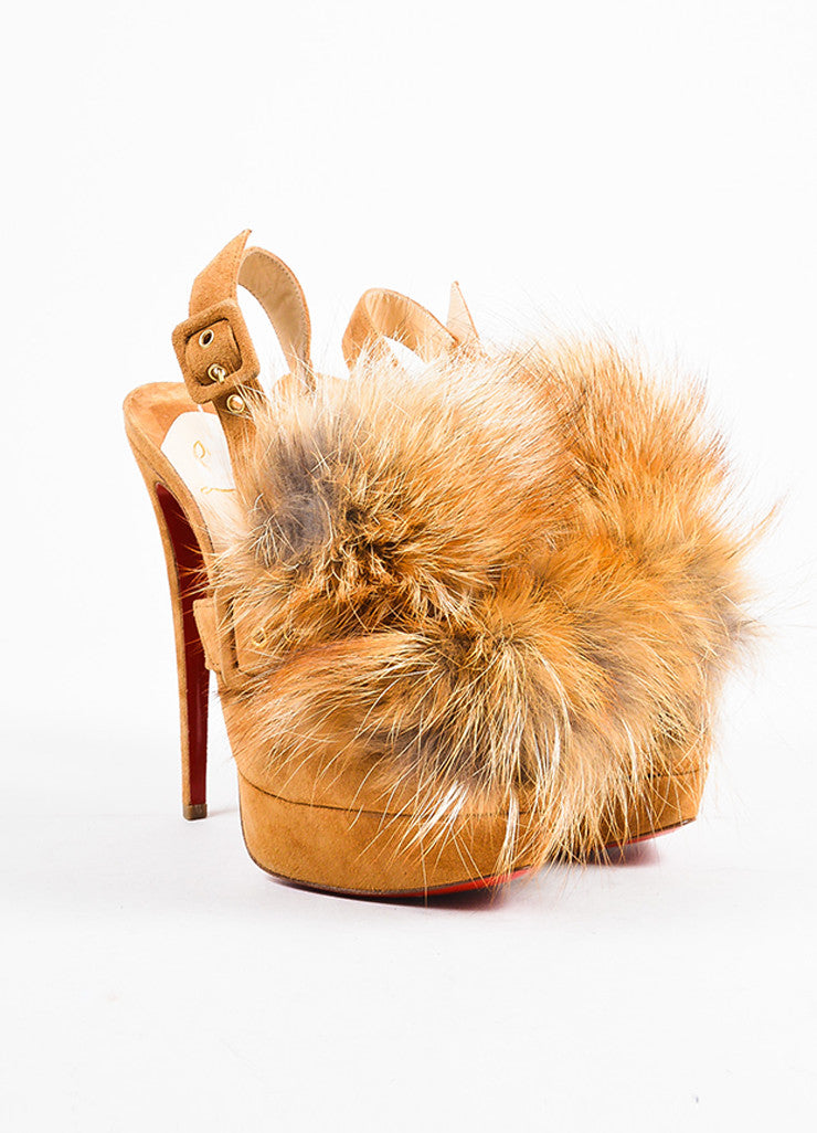 "Ì_Ì_å¢Ì_?ÁÌ_Ì_Christian Louboutin Tan Suede ""Splash"" Fox Fur Slingback Pumps Frontview"