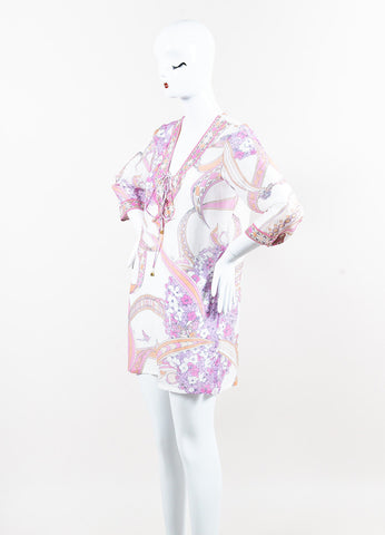 Emilio Pucci White Pink Purple Cotton Silk Half Sleeve Tie Cover Up Side