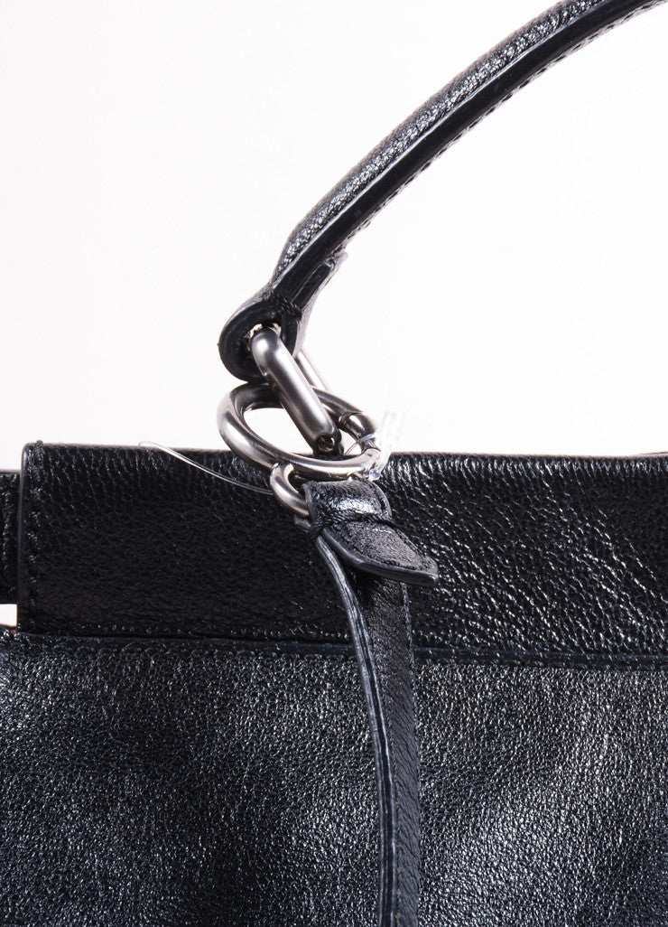 "Fendi Black Kid Leather ""Peekaboo"" Shoulder Strap Tote Bag Detail 2"