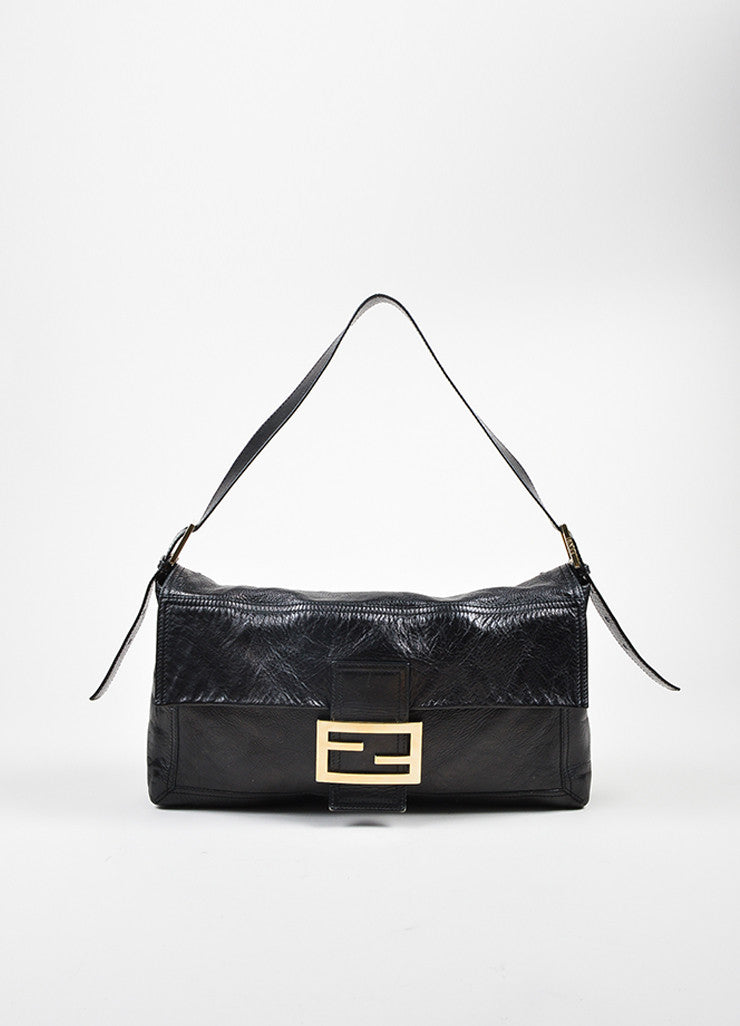 Black Fendi Leather Oversized Baguette Shoulder Bag Front