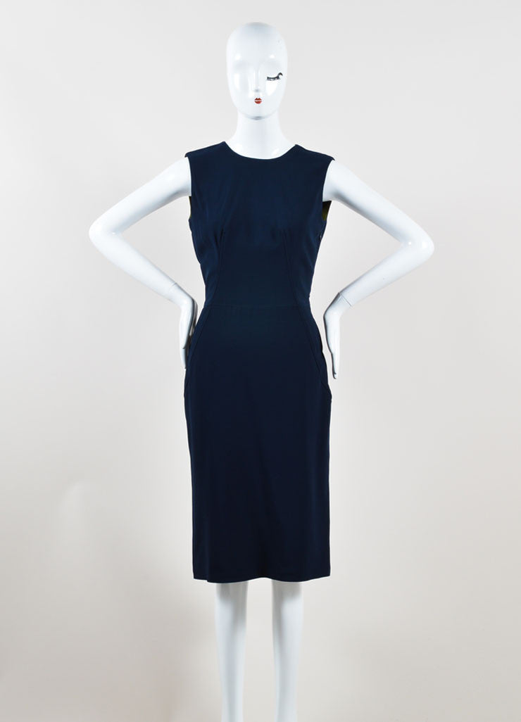 Givenchy Navy Blue Sleeveless Ruffle Hem Shift Dress Frontview