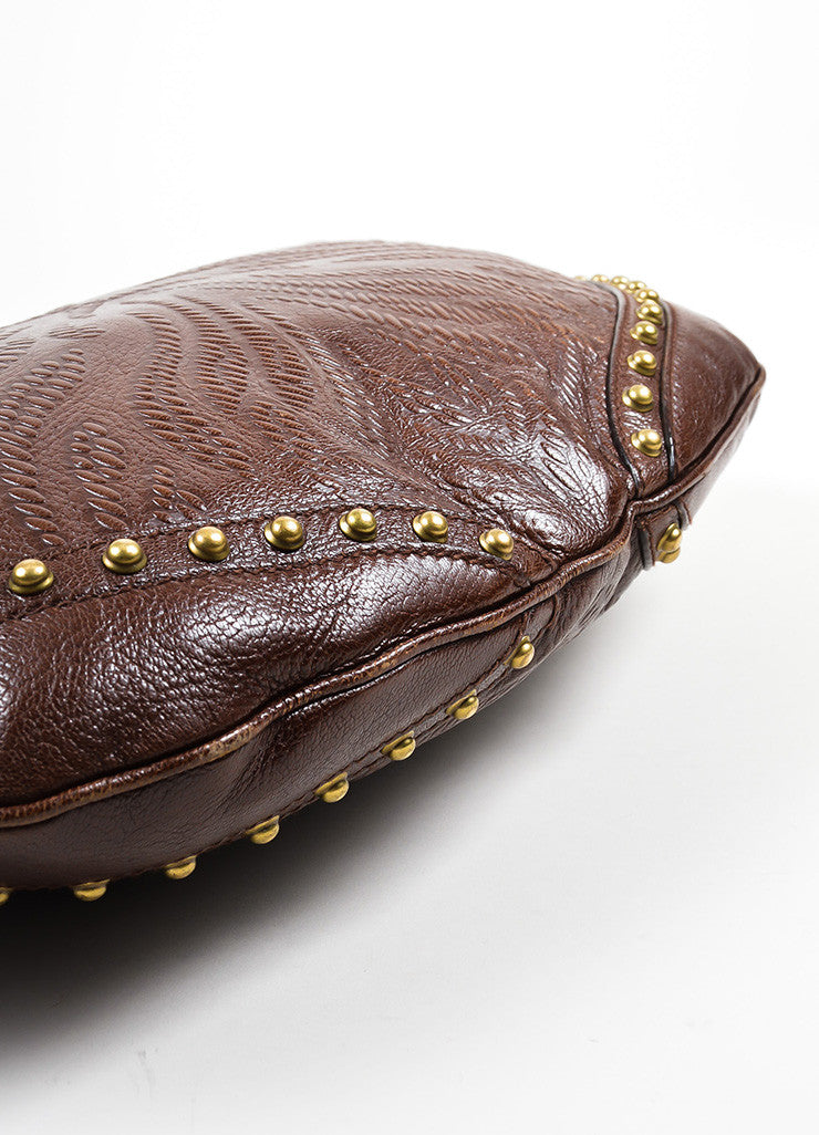 "Brown Gucci Leather Embossed Studded ""Pelham"" Bag Bottom View"