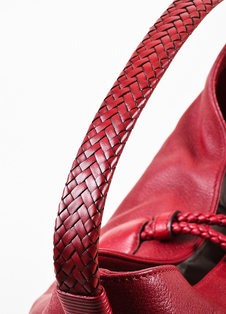 "Gucci Red Leather ""Hip"" Oversized Braided Handle Hobo Bag Detail"