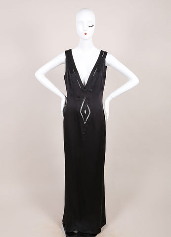 Guy Laroche Black Silk Cut Out V-Neck Sleeveless Maxi Dress Frontview