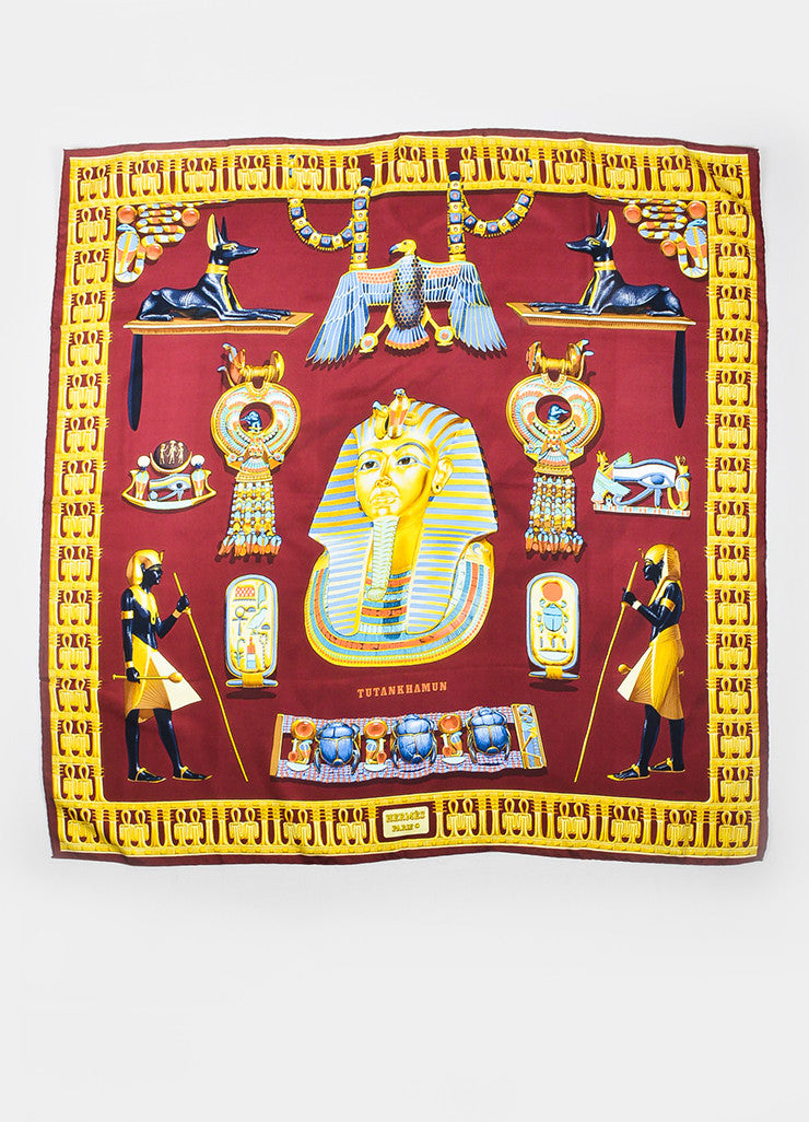 "Hermes Burgundy, Blue, and Gold Egyptian Theme ""Tutankhamun"" 90cm Scarf Frontview 2"