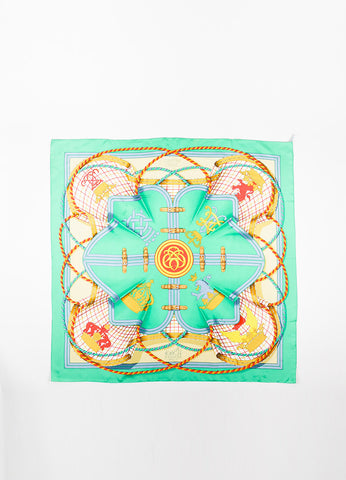 "Hermes Green, Blue, and Gold Silk ""Grande Tenue"" Dragon Crown Buckle Print Scarf Frontview 2"