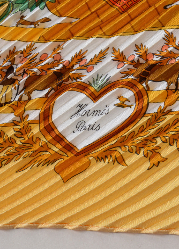 "Hermes Multicolor Silk Printed ""Decoupages"" Pleated Accordion Scarf Brand"