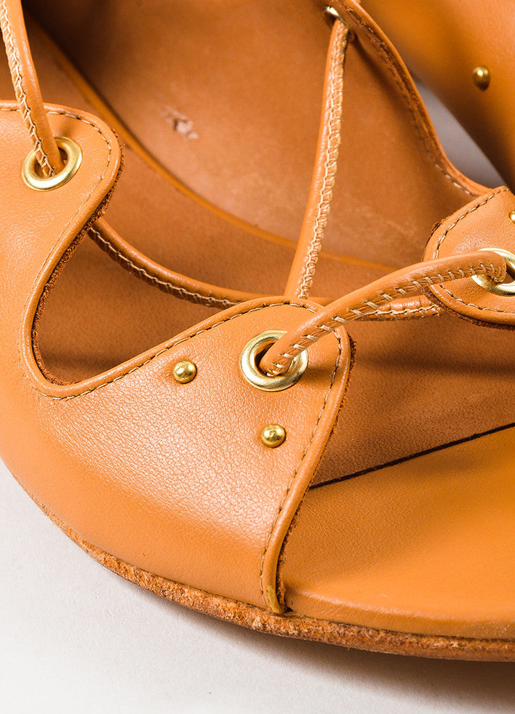 "IRO Camel Leather Studded Laced Up ""Xiri"" Flat Gladiator Sandals Detail"