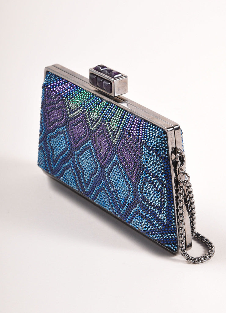 Judith Leiber New With Tags Blue, Purple, and Green Crystal Encrusted Minaudiere Clutch Bag Sideview