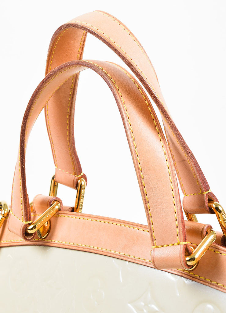 "Beige and Tan Louis Vuitton Vernis Patent Leather Embossed Monogram ""Brea GM"" Bag Detail 2"