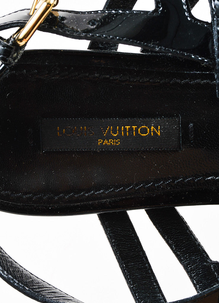 Louis Vuitton Black Patent Leather 'LV' Strappy Slingback Flat Sandals Brand