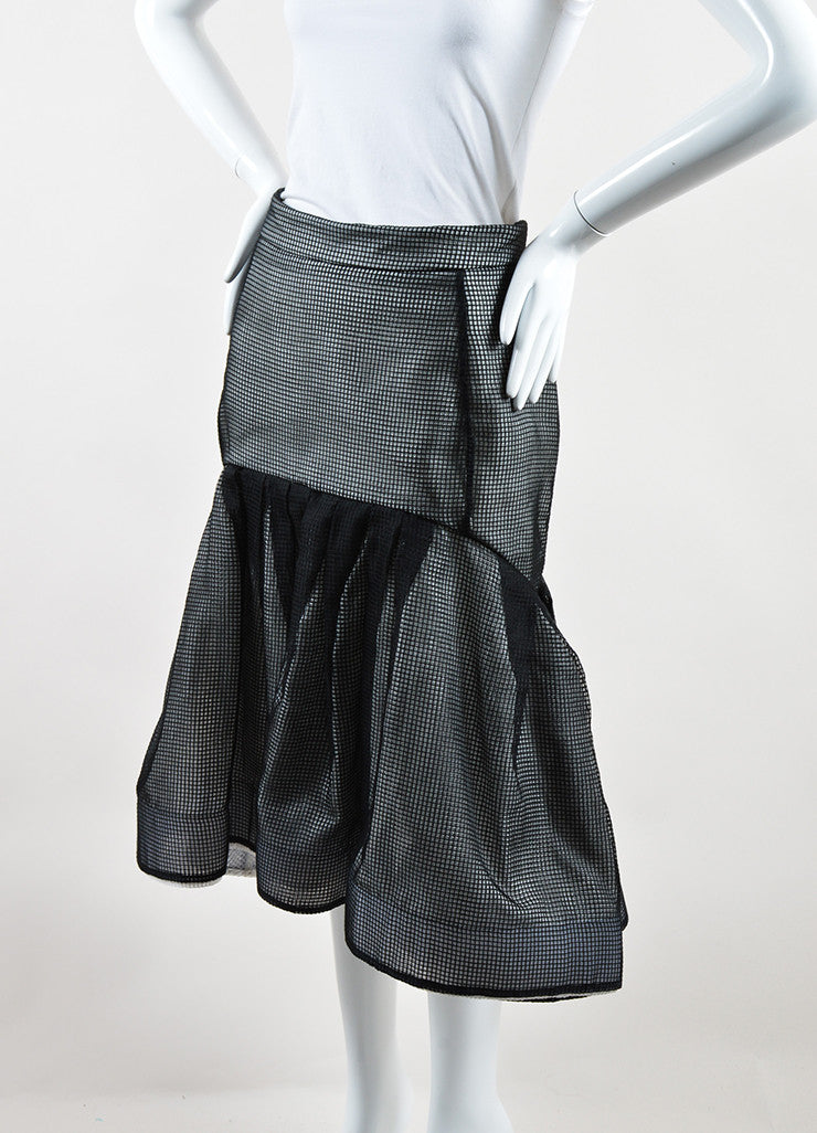 Maticevski Black and White Mesh Window Pane Pleated Skirt Sideview