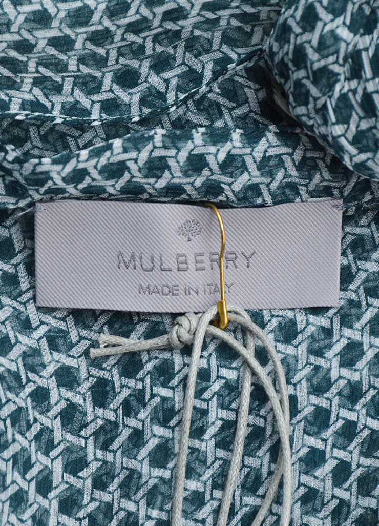Mulberry Green and White Silk Geometric Print Button Sheer Flutter Dress Brand