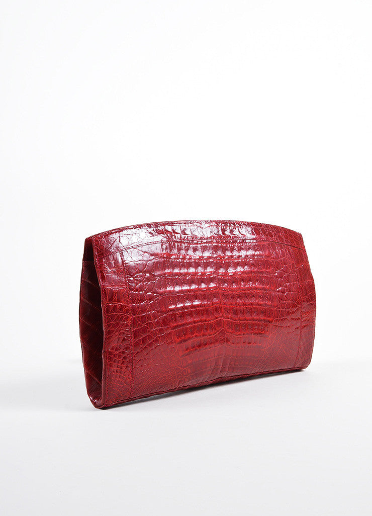 Deep Red Nancy Gonzalez Crocodile Patent Large Frame Clutch Bag Sideview