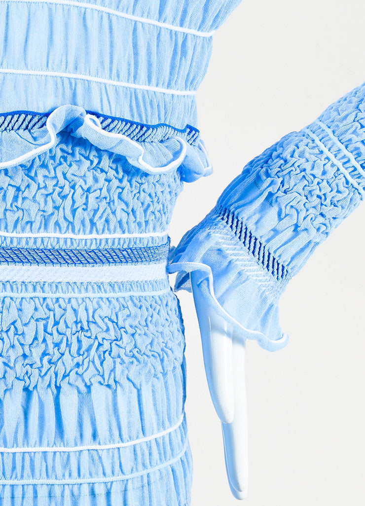 "Peter Pilotto Blue and White Ruffled Long Sleeve ""Atmos"" Maxi Dress Detail"