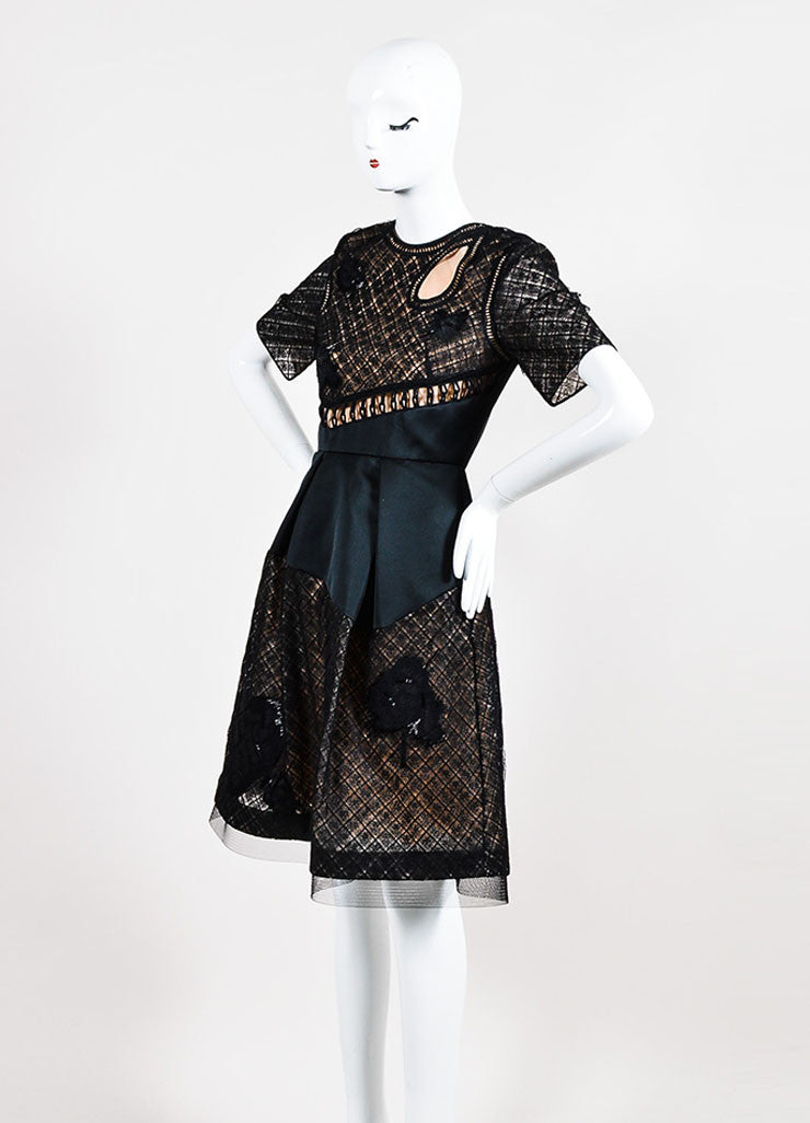 Black Prabal Gurung Silk Lace Beaded Flounce Dress Front