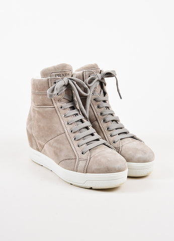 Prada Grey Suede White Leather Trim Lace Up Platform High Top Sneakers Frontview