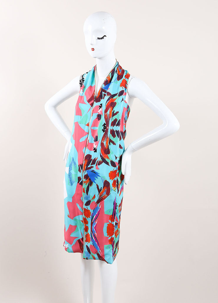 "Roland Mouret New With Tags Blue, Pink, and Multicolor Zip Up Silk ""Hadar"" Dress Sideview"