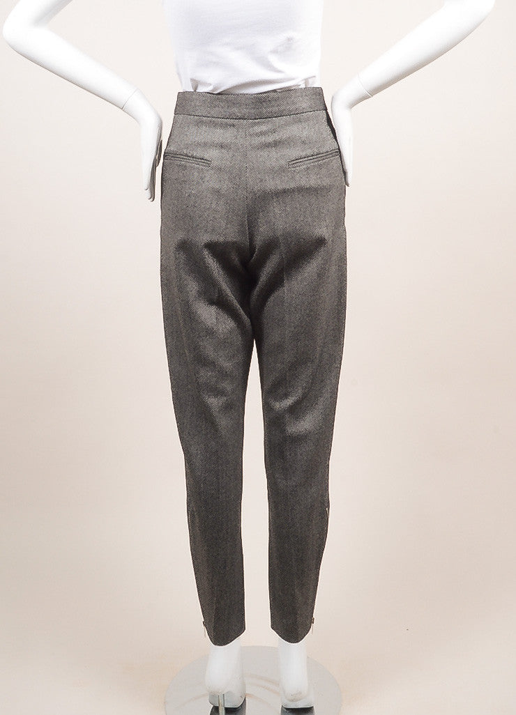 Stella McCartney New With Tags Black and White Wool Knit Zip Trousers Backview