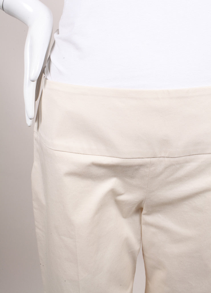 "The Row New With Tags Cream Stretch Cotton Twill Cropped Wide Leg ""Crosha"" Pants Detail"