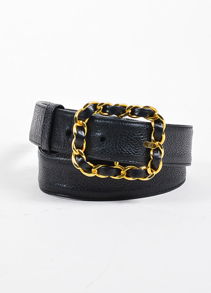 Black and Gold Toned Chanel Caviar Leather Interwoven Chain Belt Frontview