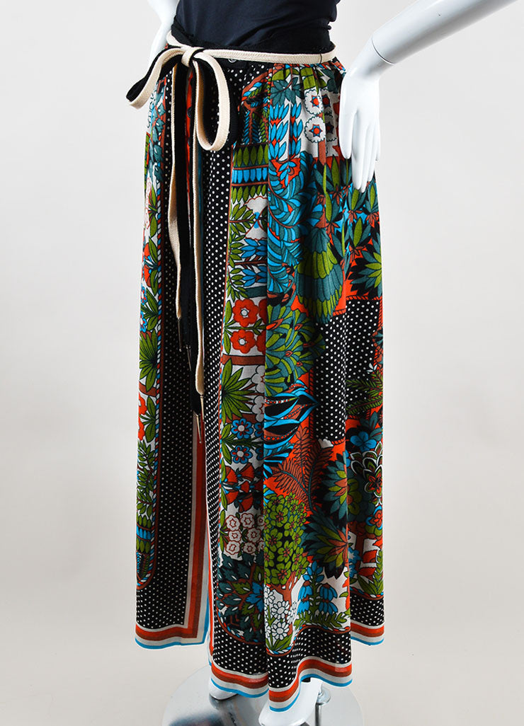 Lanvin Multicolor Linen Patterned Button Front Maxi Skirt Sideview