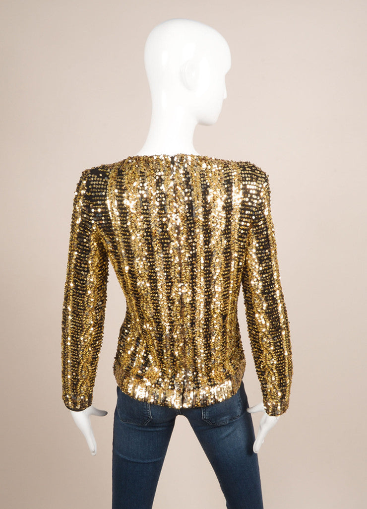 Victoria Royal Ltd. Gold and Black Sequin and Bead Embellished Long Sleeve Top Backview