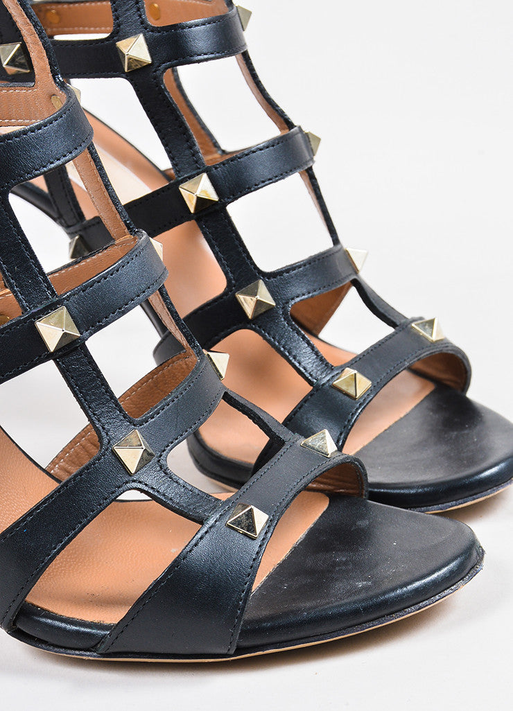 "Valentino Black Leather Gold Toned Stud Caged High Heel ""Rockstud"" Sandals detail"