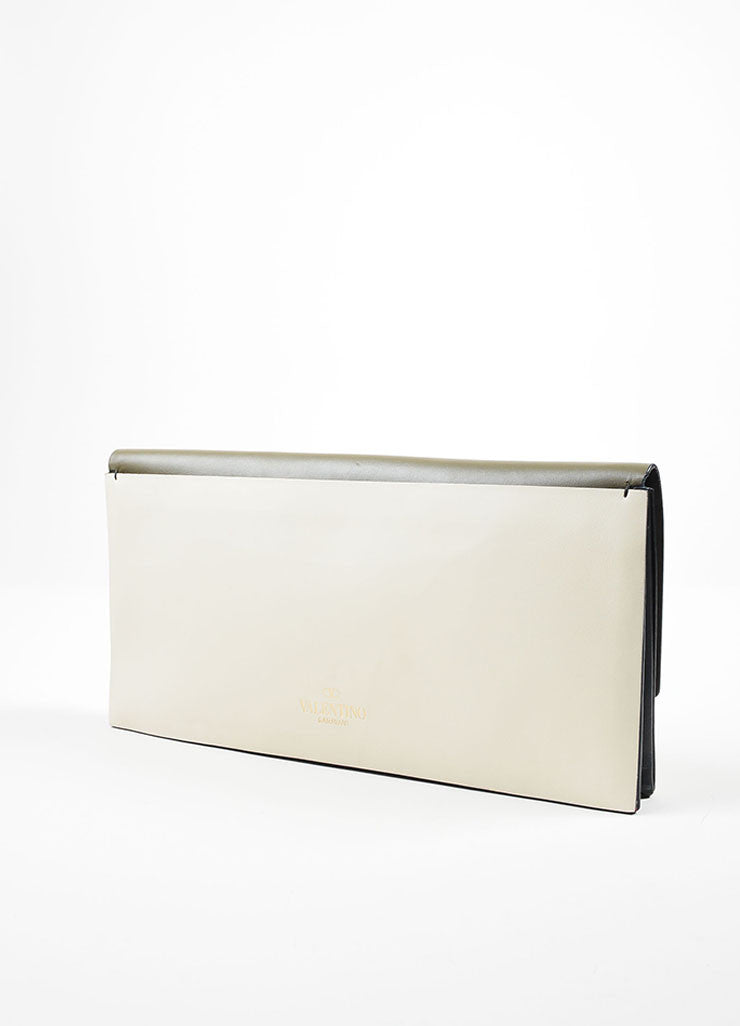Green, White, and Black Color Block Valentino Leather Rectangle Clutch Bag Sideview