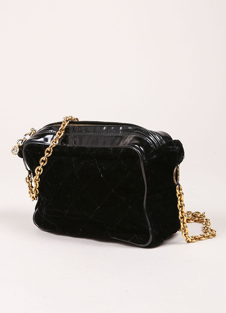 Chanel Black Velvet Quilted Patent Grim Gold Toned Chain Bag Sideview