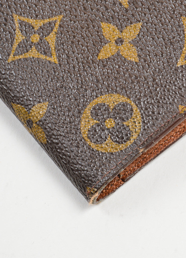 "Brown and Tan Louis Vuitton Monogram ""Porte-tresor International"" Long Wallet Detail"