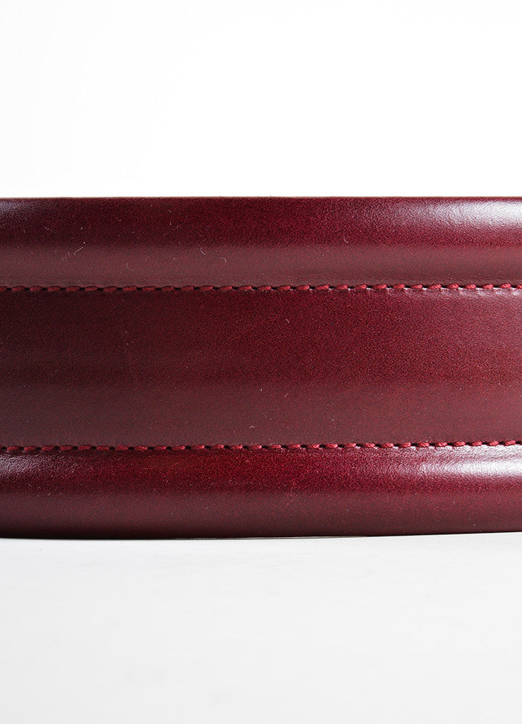 Alexander McQueen Oxblood Red Leather Traditional Wide Belt Detail 2