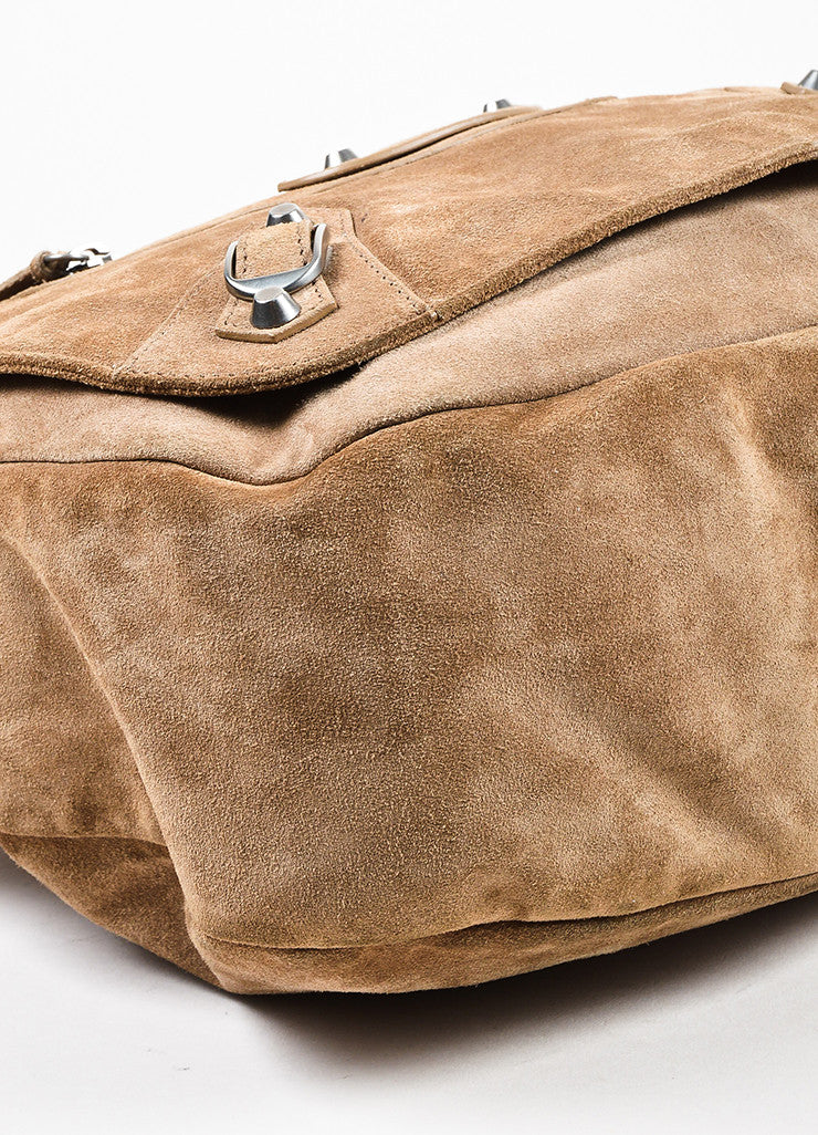 "Balenciaga Camel Suede Studded Crossbody ""Neo Folk"" Messenger Bag Detail"
