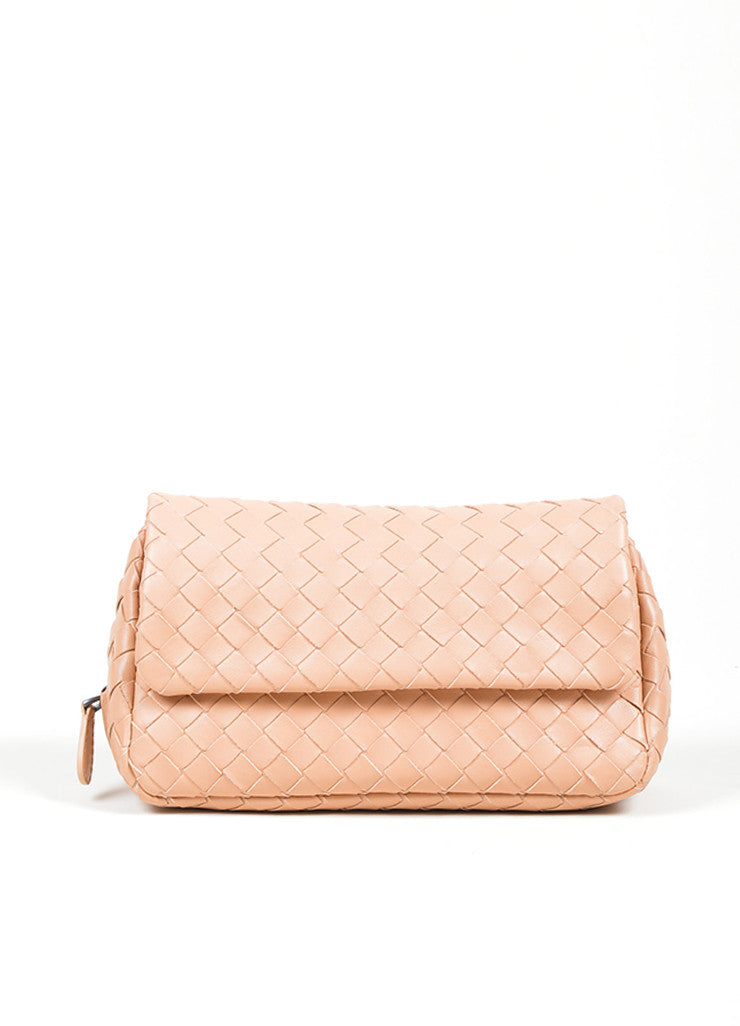 "Blush Pink Bottega Veneta ""Small Chain Intrecciato"" Nappa Cross Body Bag Frontview"
