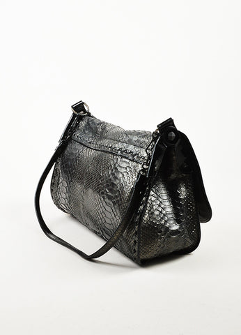 ¥éËBottega Veneta Black Gunmetal Metallic Python Leather Shoulder Messenger Bag Sideview