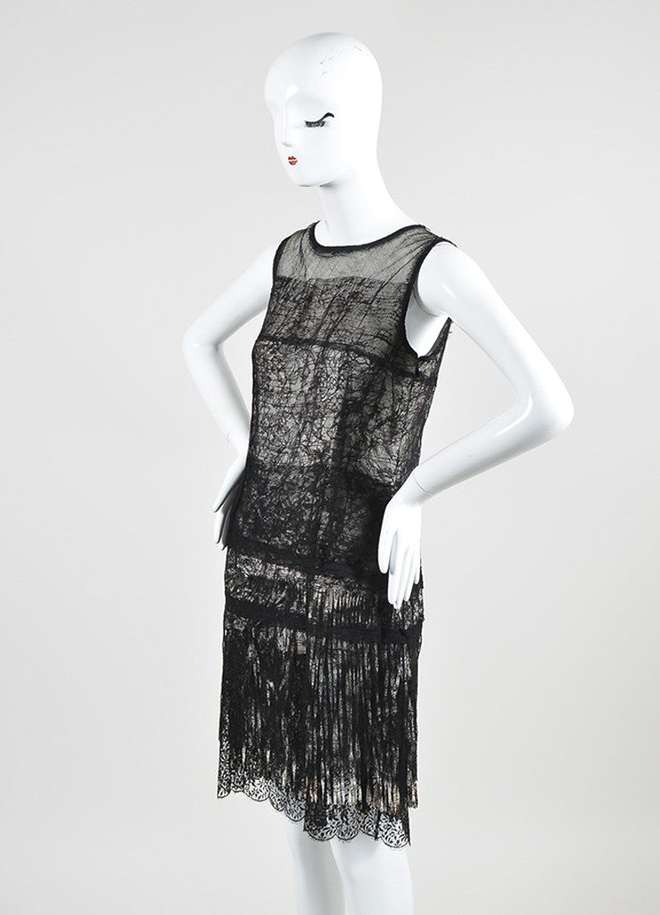 Black, Off White, and Purple Bottega Veneta Lace and Mesh Abstract Print Fringe Dress Sideview