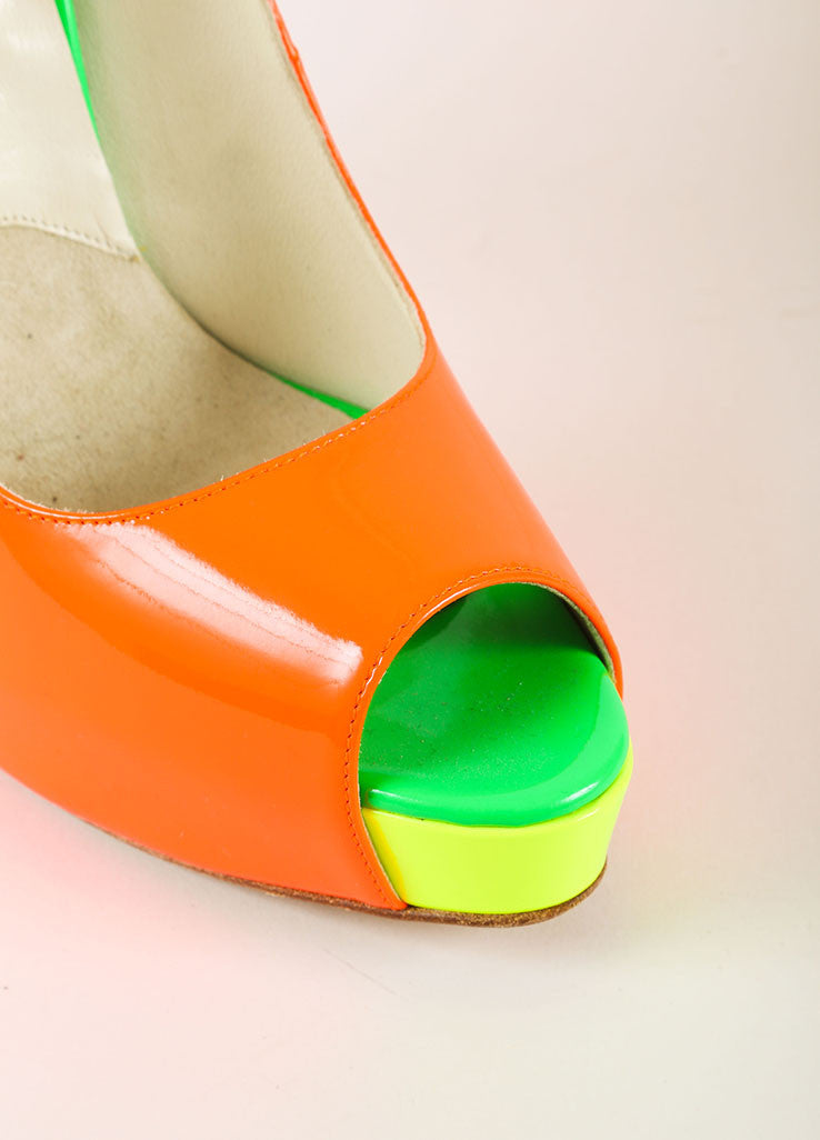 Brian Atwood Neon Patent Leather Color Block Peep Toe Platform Pumps Detail
