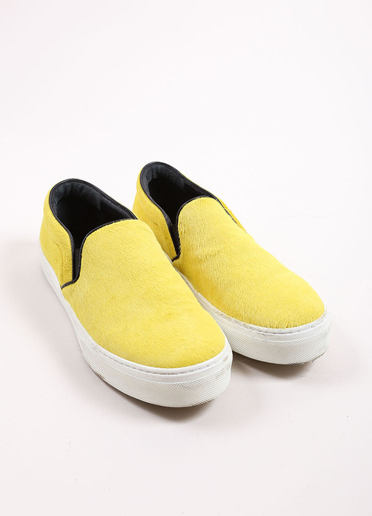Celine Yellow and Black Pony Hair Slip On Sneakers Frontview