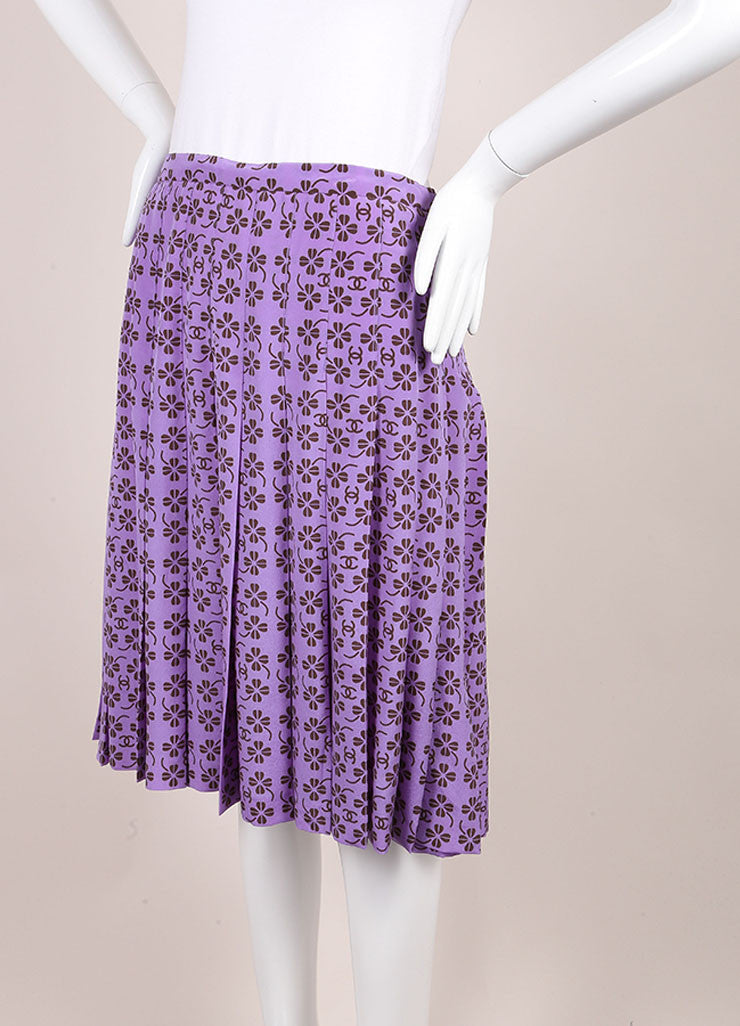 "Chanel Lavender Purple and Brown Silk Clover ""CC"" Logo Pleated Skirt Sideview"