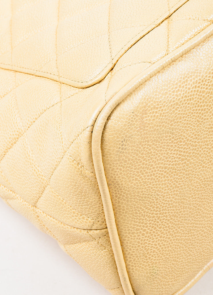 "Chanel Beige Caviar Leather 'CC' ""Medallion"" Tote Handbag Detail"
