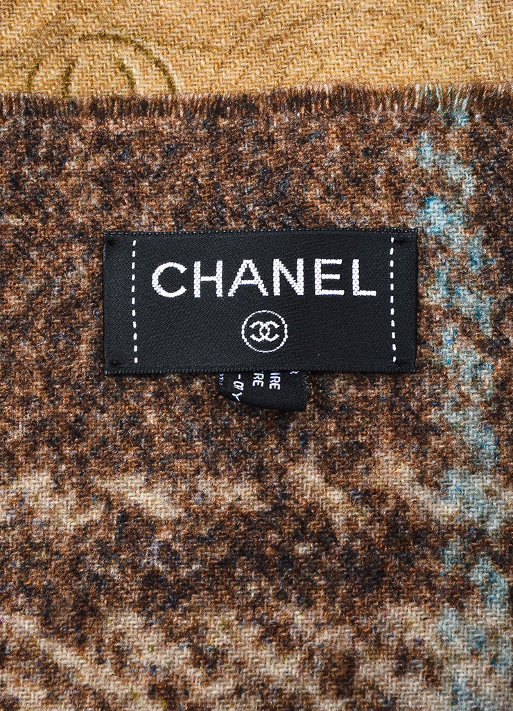 Chanel Brown and Multicolor Cashmere Houndstooth and 'CC' Patterened Reversible Scarf Brand