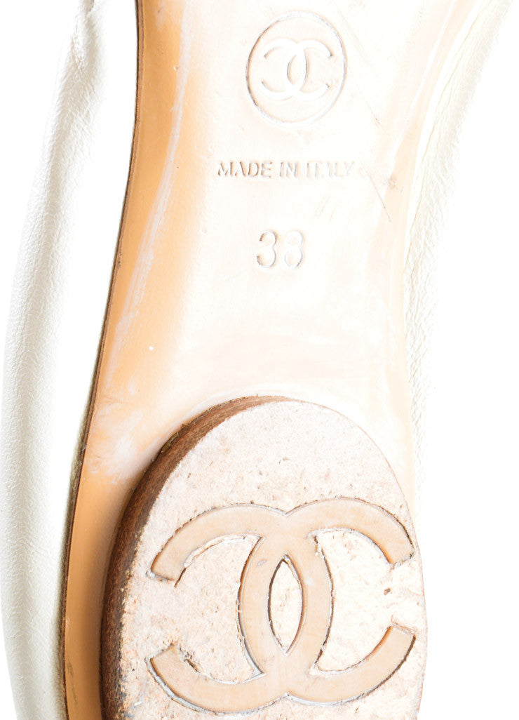 "Chanel Cream and Black Cap Toe ""CC"" Logo ""Spirit"" Flats Brand"