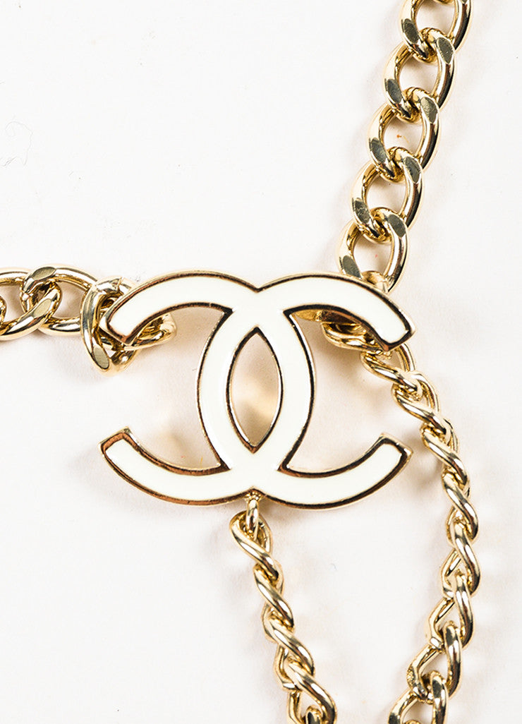 Chanel Gold Toned and White Chain Link 'CC' Medallion Belt Detail 2