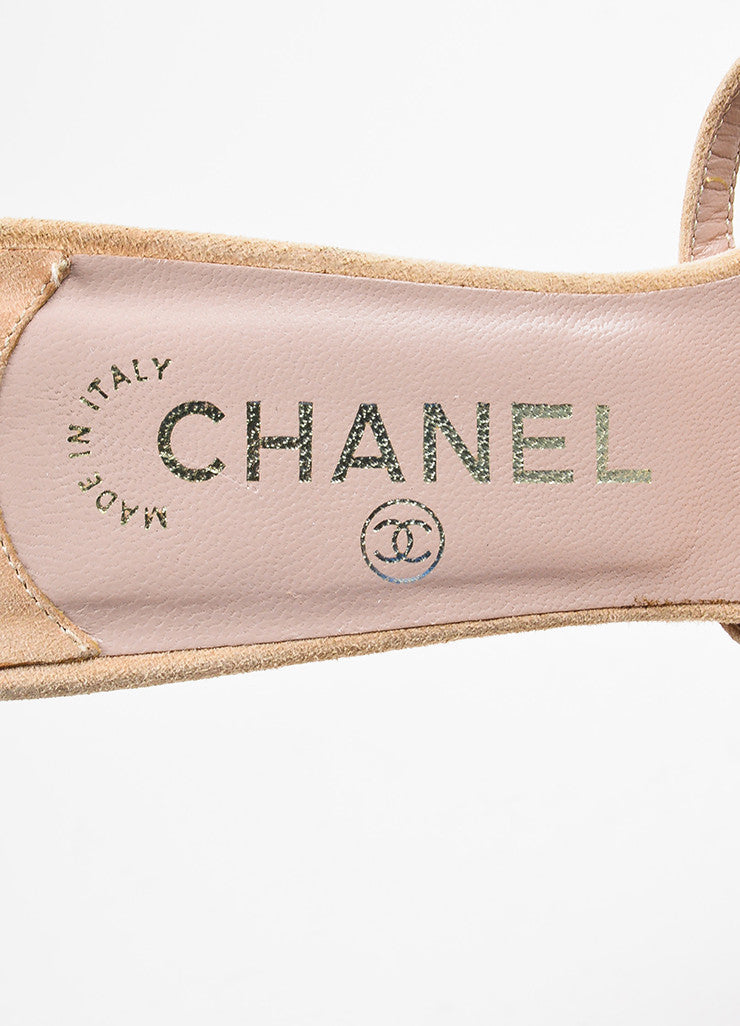 Chanel Light Beige, Brown, and Gold Suede Camellia Flower Slide Sandals Brand