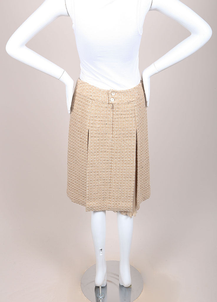 Chanel Tan, Gold, and Cream Wool and Alpaca Tweed and Chiffon Sequin Pleated Skirt Backview