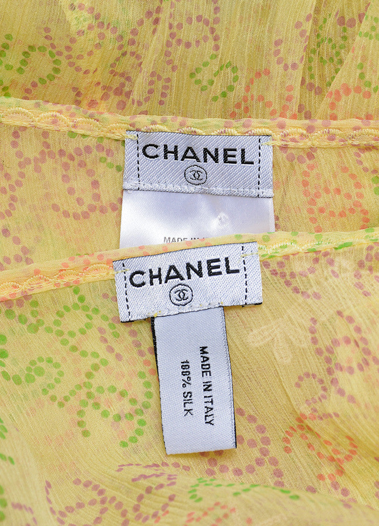 Yellow and Multicolor Chanel Silk Chiffon 'CC' Logo Print Sheer Tie Blouse Set Brand