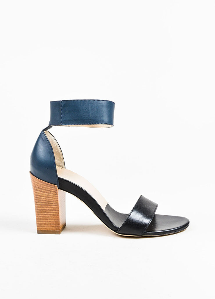 Chloe Black and Navy Blue Velcro Ankle Strap Stacked Chunky Sandal Heels Sideview