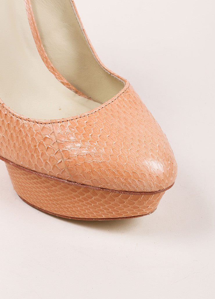 "Elizabeth and James ""Blush"" Pink Snake Embossed Leather ""Mason"" Pumps Detail"